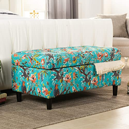 Jennifer Taylor Home Naomi Collection Bohemian Style Cotton Upholstered Hand Tufted Storage Accent Entryway Bench