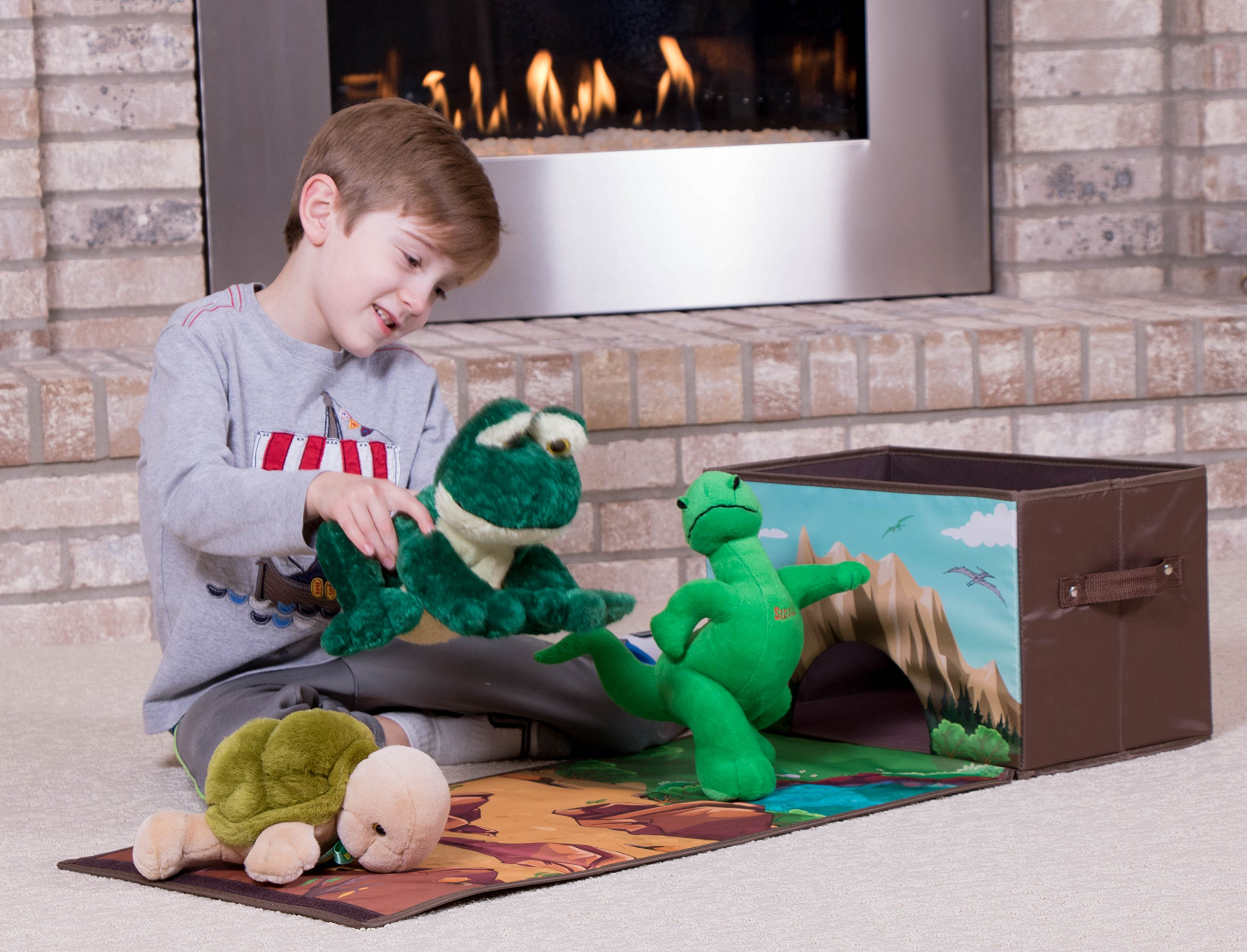 Dinosaur Toy Storage Organizer by Clever Creations   Toy Box Folding Storage and Play Mat for Kids Bedroom   Perfect Size Toy Chest for Organizing Books, Toys   Collapsible for Creative Play by Clever Creations (Image #4)