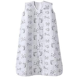 Halo 100% Cotton Muslin Sleepsack Wearable Blanket, Grey Dogs, Large