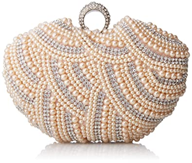 39bd7a83247 Damara Womens Luxury Special Crystals Beaded Pearl Clutch Bag,Champagne
