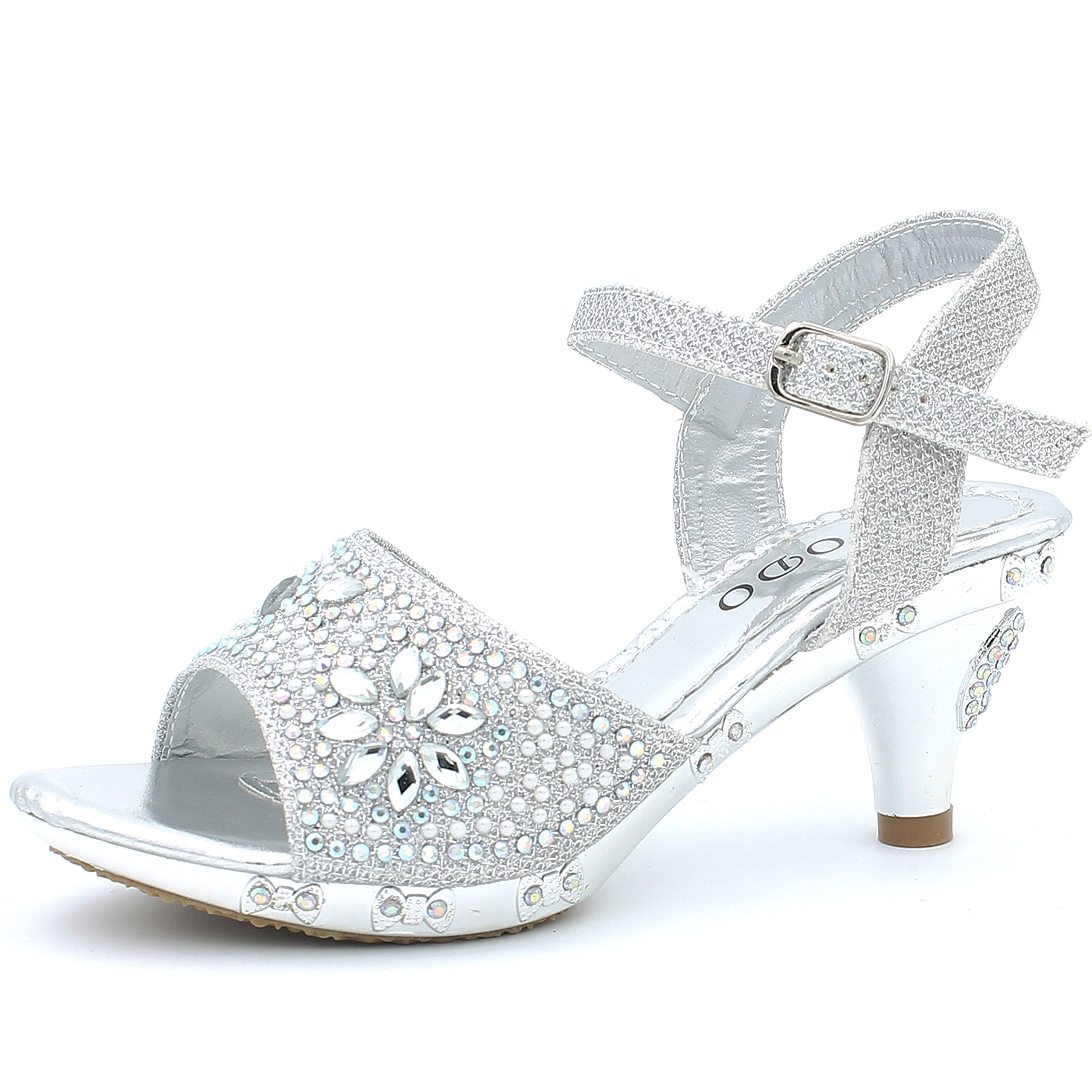 CAKI Toddler Little Big Kid Low Heel Dress Pump Sandals (11 M US Little Kids, Silver)