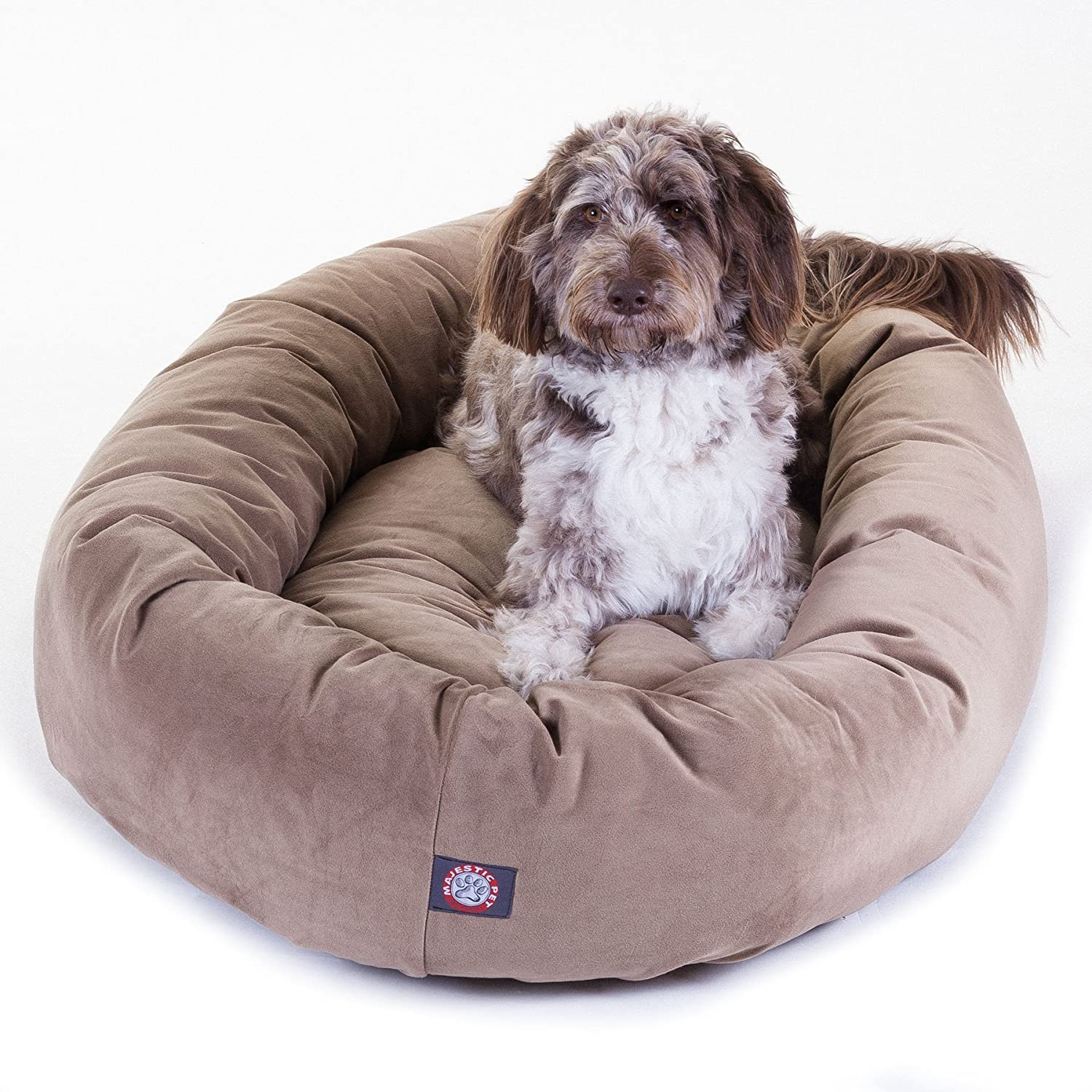Majestic Pet Extra-Large 52 Bagel Dog Pet Bed Microsuede – Stone