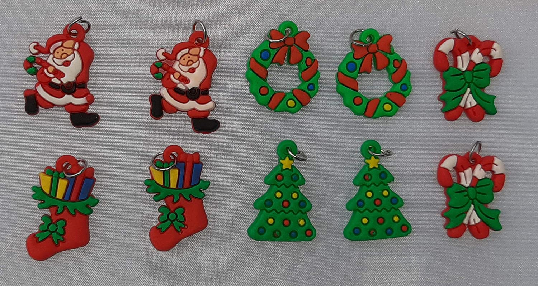DIY dko-24 Loom Bands Loom B/änder Charms Perlen Buchstaben Sterne Herzen Blumen 48 Bunte S Clips Gummib/änder Starter-Set Box Anh/änger Armband 10 x Weihnachtsanh/änger Charms