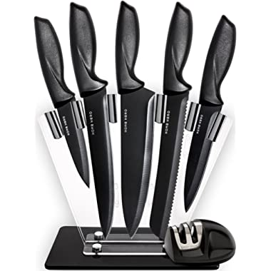 Chef Knife Set Knives Set - Kitchen Knives Knife Set with Stand - Plus Professional Knife Sharpener - 7 Piece Stainless Steel Cutlery Knives Set by HomeHero