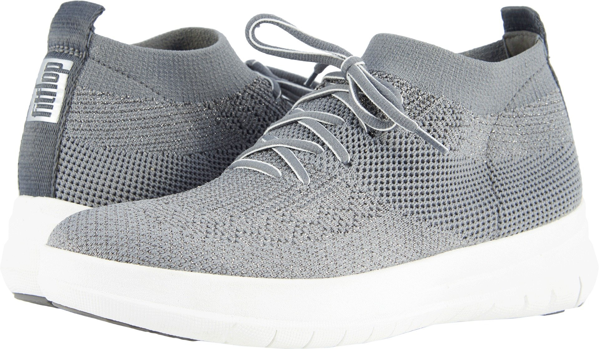 FitFlop Women's Uberknit Slip-On High-Top Sneaker Charcoal/Metallic Pewter 11 M US