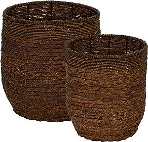 Household Essentials ML-4120 Water Hyacinth Round Rimmed Basket Set, 2 Piece