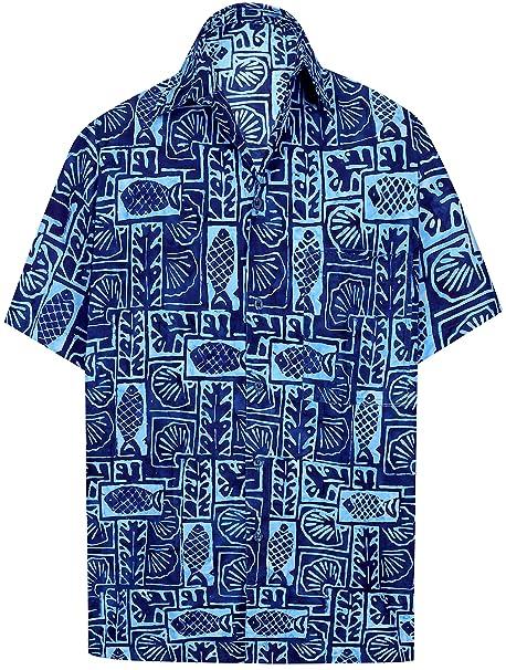 ebcf4917d LA LEELA algodón para Hombre botón de la Camisa Hawaiana Abajo Delante de  Bolsillo  Amazon.es  Ropa y accesorios