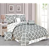 Galaxy 7-Piece Comforter Set Reversible Soft Oversized Bedding New ArrIval SALE! (Queen, Gray)