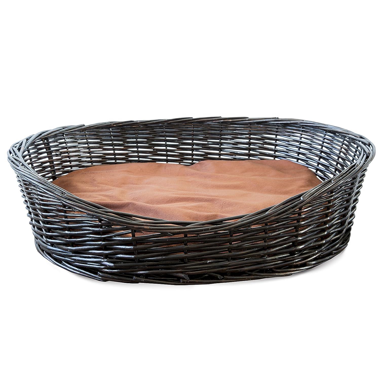 Marronee colore Premium Wicker Dog Bed con cuscini lavabili (M)