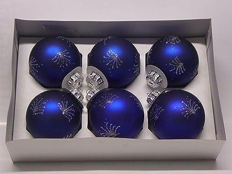 Albero Di Natale Con Decorazioni Blu : Set di palle di natale blu opaco con glitter argento glitter