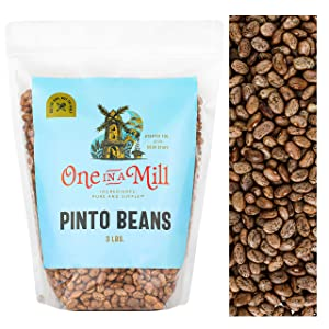 One in a Mill Dried Pinto Beans 3lb Bulk Resealable Bag | Frijoles Pinto Dry 100% Natural | For Cooking, Soups, Chili, Burritos, & Refried Beans | Vegan-Friendly, Certified Kosher