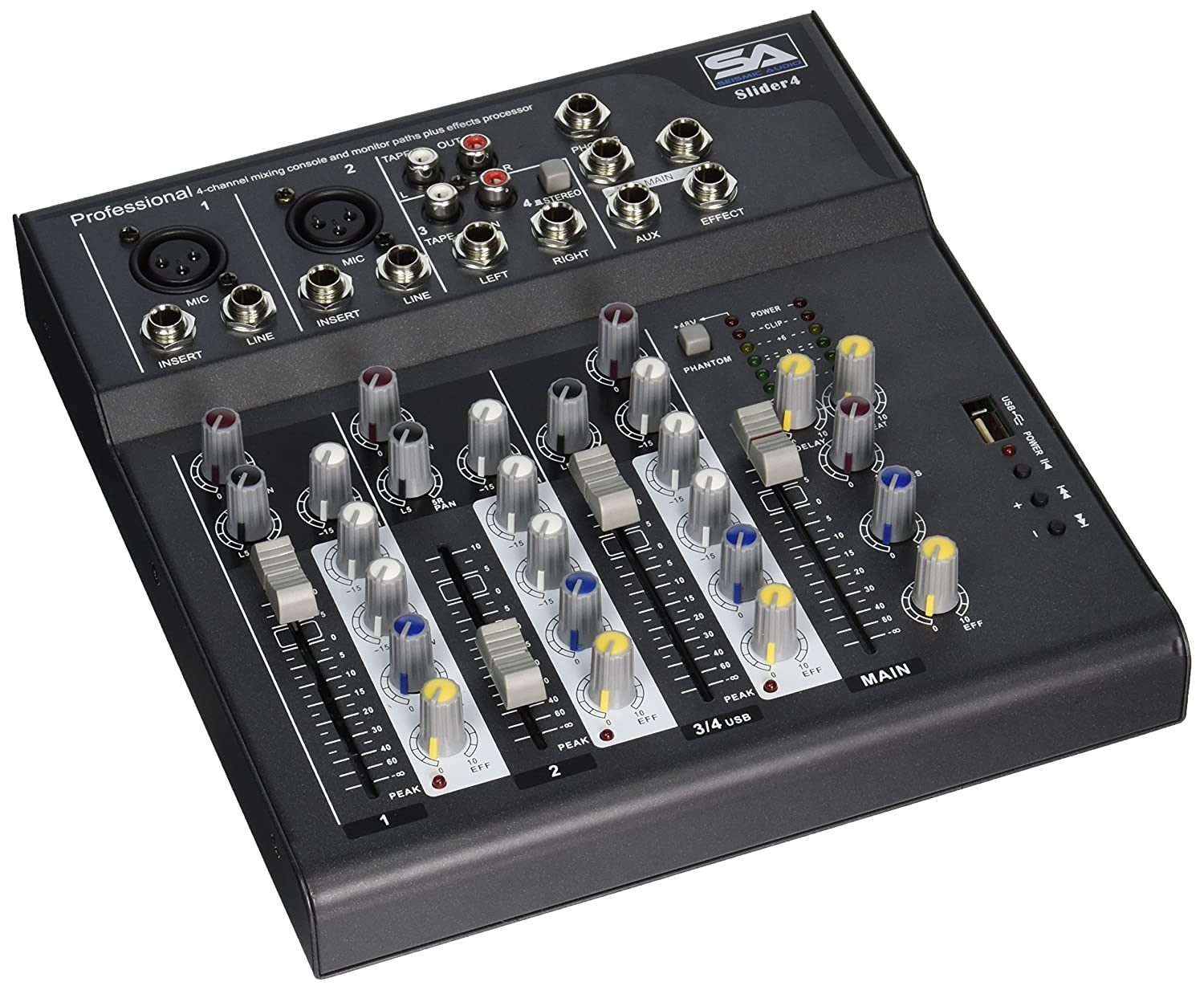 Seismic Audio - Slider4 - 4 Channel Mixer Console with USB Interface Seismic Audio Speakers Inc.