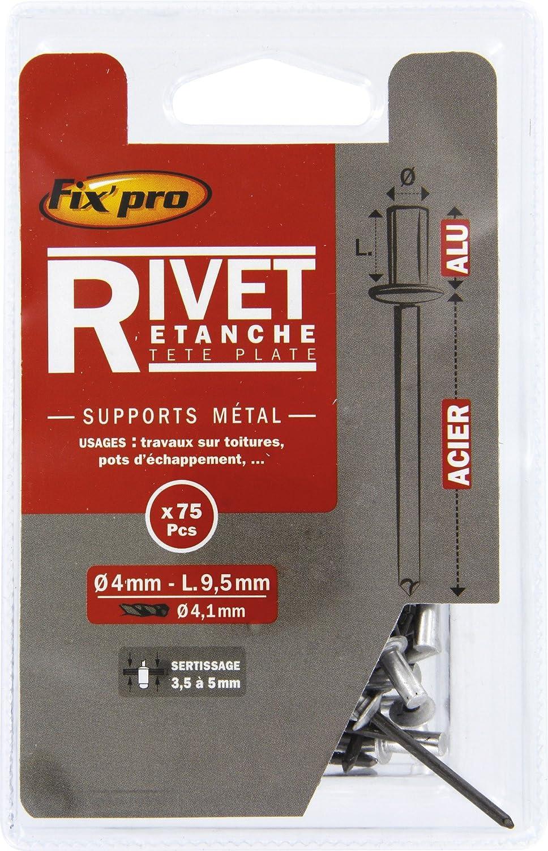 Vendu par 40 Diam/ètre 4,8 mm Diam/ètre 4,8 mm Rivet aveugle aluminium//acier t/ête plate /étanche FixPro