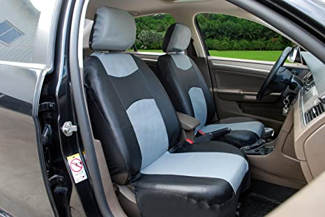 115907 Bk Grey Leather Like 2 Front Car Seat Covers Compatible To Toyota Prius