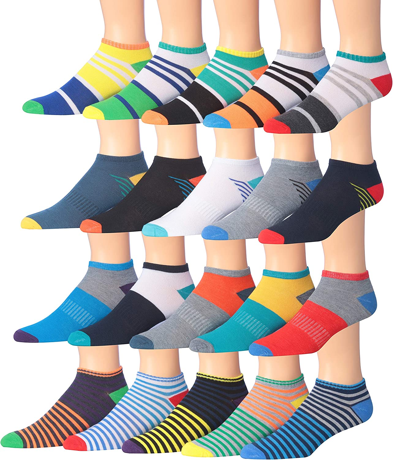 James FialloMen's 20 Pairs Classy Extra Lightweight Colorful Patterned Low Cut/No Show Socks