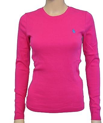 Polo Ralph Lauren Womens Tee T-shirt top Long sleeve Pink S M L ...