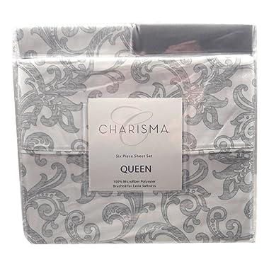 Charisma Microfiber Polyester Six Piece Queen Sheet Set (Queen, Paisley Grey/White)