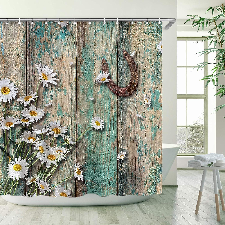 RosieLily Rustic Shower Curtain, Rusty Horseshoe Daisy Old Barnwood Western Fabric Bathroom Curtain with Hooks Country Farmhouse Style Artwork Retro Teal Bathroom Decor, 72x72 Inches Machine Washable