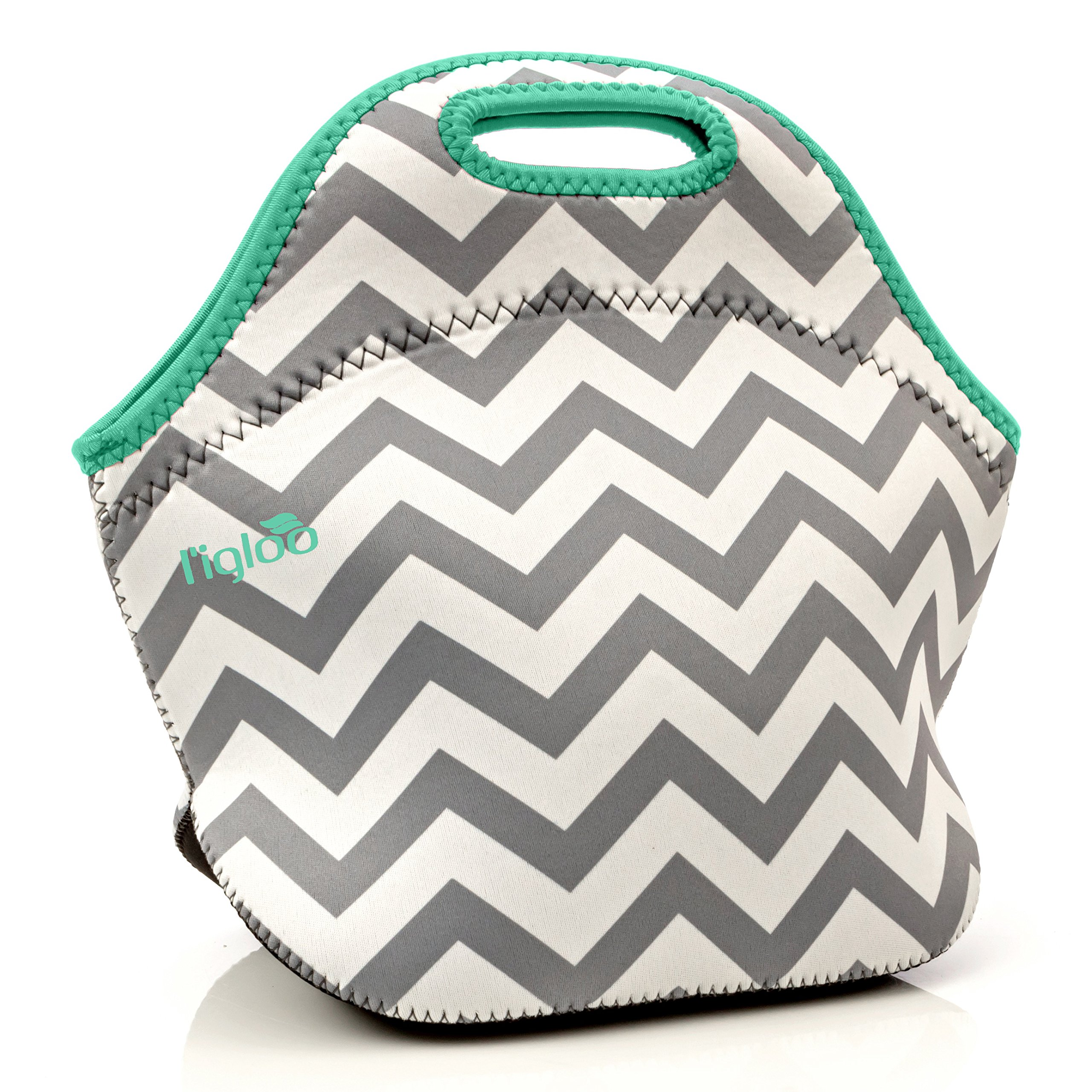 l'igloo Deluxe Neoprene Insulated Lunch Bag Extra Thick Lunch Box Tote Heavy Duty Zipper Use For Snacks, Baby Bottle Bag, Six Pack Bottle Carrier Cooler (Gray chevron/aqua trim)