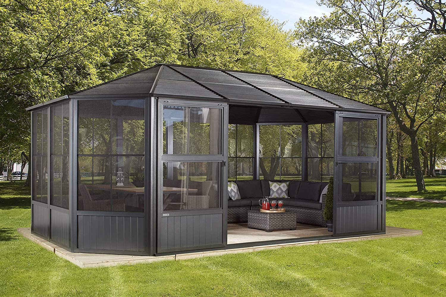 Sojag 12 x 18 Outdoor Charleston Aluminum Solarium Sunroom with Mosquito Net, Dark Gray