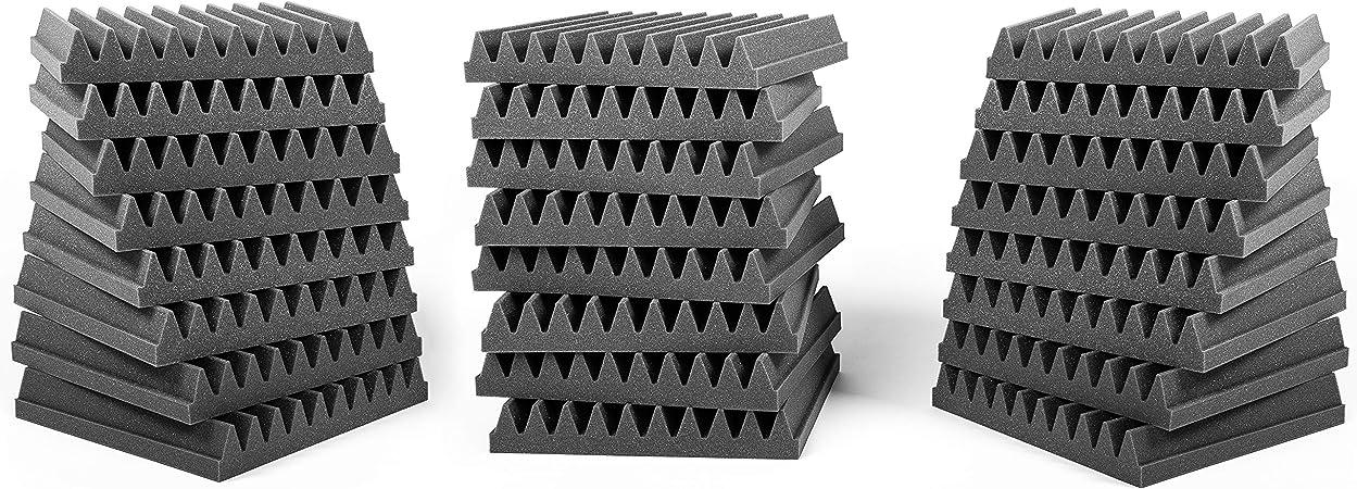 Comprar AcousPanel Pack de 24 paneles acústicos compuestos por espuma acústica de grado profesional. Dimensiones 30x30cm (4 cm de espesor), color gris antracita. Autoextinguible.