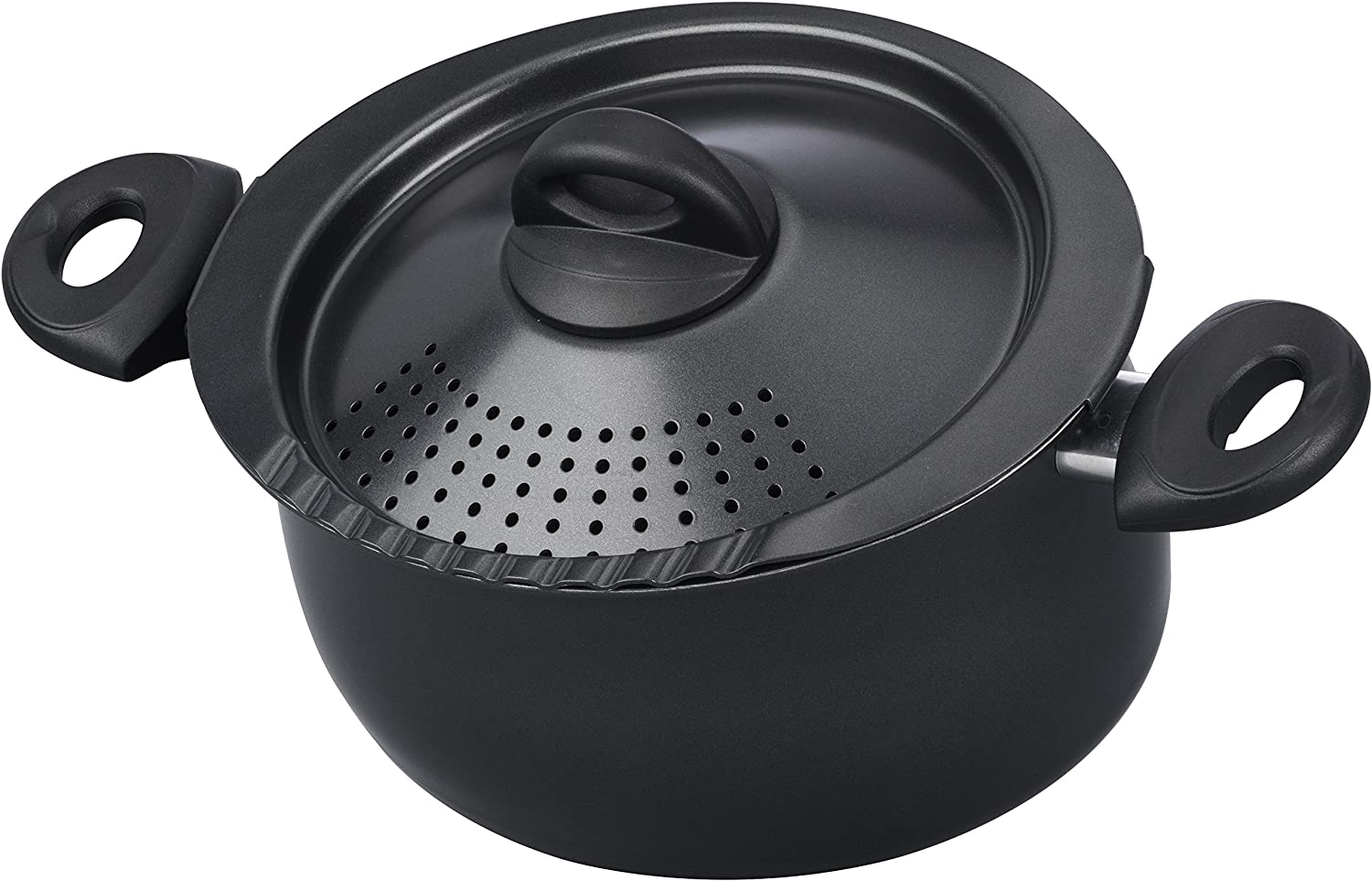 Bialetti Oval 5 Quart Pasta Pot with Strainer Lid, Nonstick, 1, Black