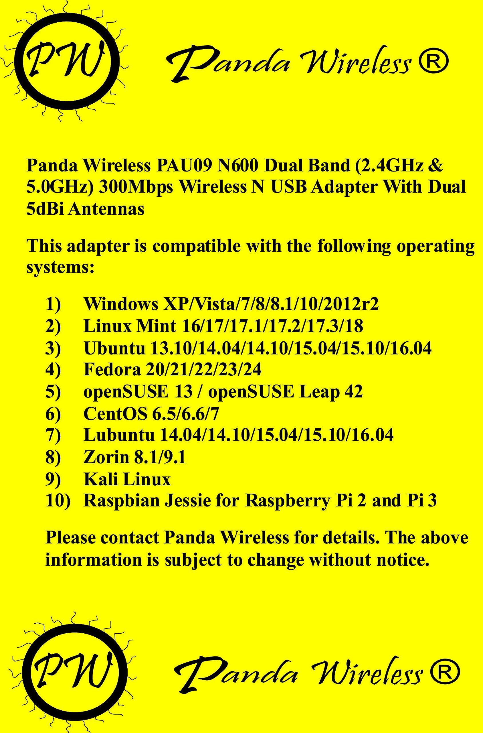 Panda Wireless PAU09 N600 Dual Band (2.4GHz and 5GHz) Wireless N USB Adapter W/ Dual 5dBi Antennas - Windows XP/Vista/7/8/8.1/10, Mint, Ubuntu, openSUSE, Fedora, CentOS, Kali Linux and Raspbian by Panda Wireless (Image #2)