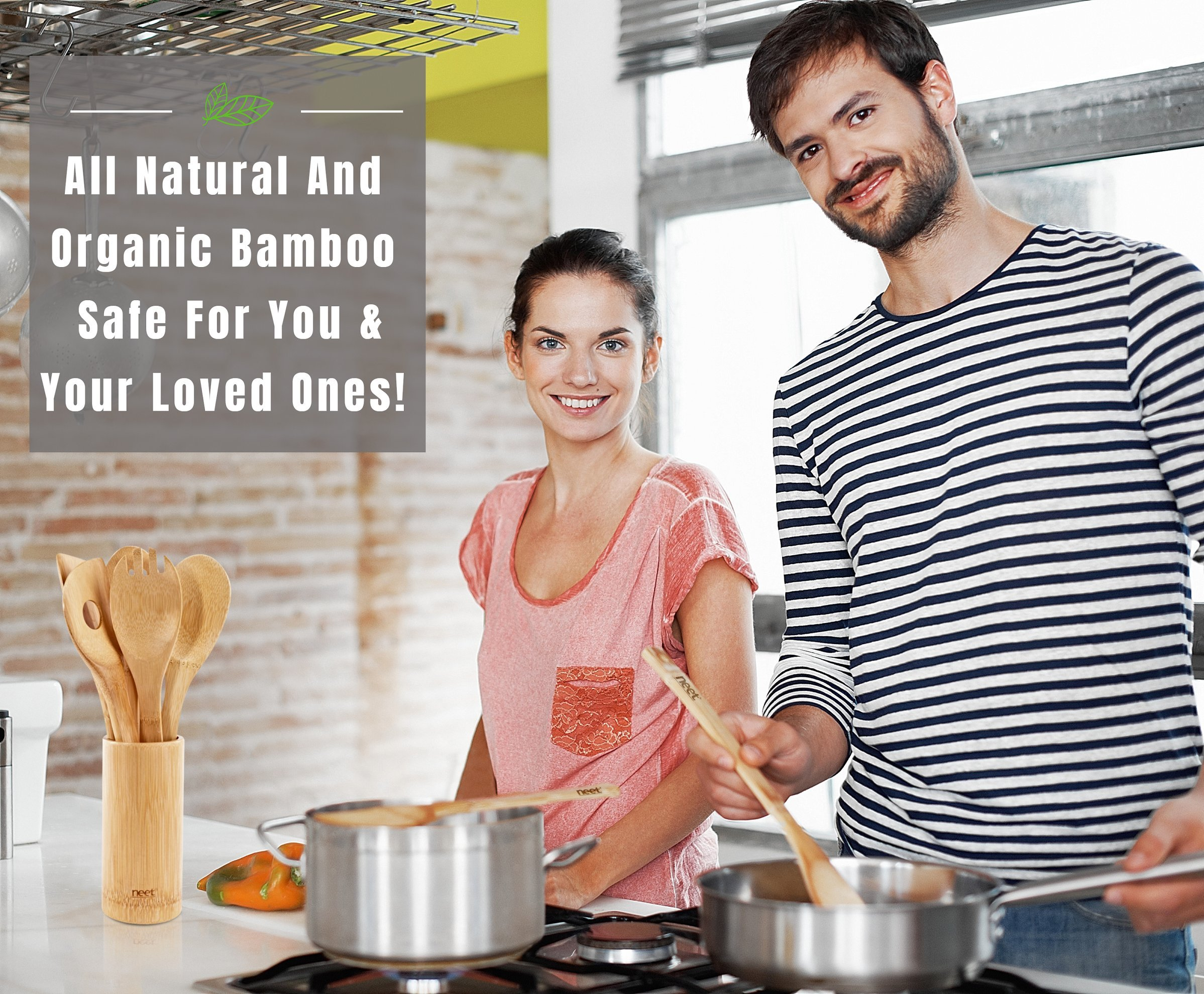 Organic Bamboo Cooking & Serving Utensil Set By Neet - 6 Piece Set | Spoon & Spatula Mix | Utensil Holder Organizer | Non Stick Wooden Kitchen Gadgets | Great Gift For Chefs & Foodies by Neet (Image #2)