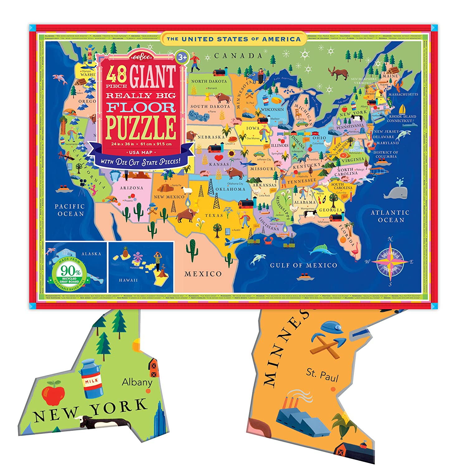 eeBoo Large Floor Puzzle for Kids, United States USA Map, 48 Pieces on alaska lower 48 map, usa map, sierra leone latitude and longitude map, us geographical map, oregon state map, letter size landscape us map, flat us map, connecticut longitude and latitude map,