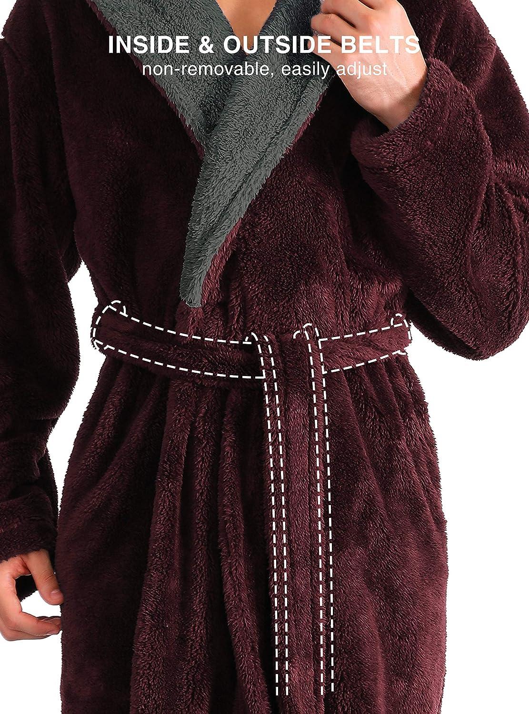 DAVID ARCHY Mens Hooded Fleece Plush Soft Shu Velveteen Robe Full Length Long Lounge Robe Loungewear