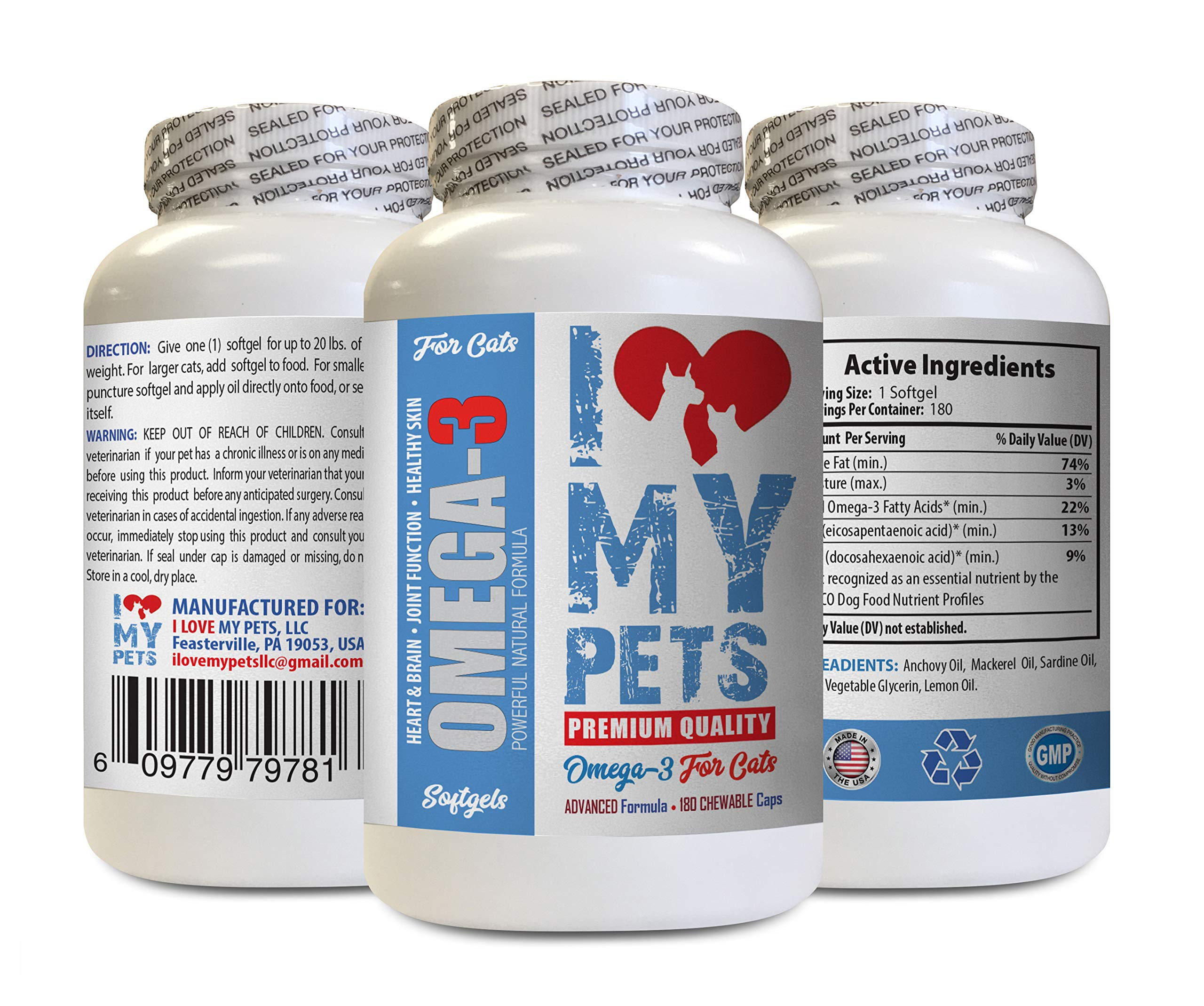 I LOVE MY PETS LLC Omega 3 cat Treats - Omega 3 Fatty ACIDS for Cats - Best Health Option - Premium - cat Omega 3 6 9-180 Softgels (1 Bottle) by I LOVE MY PETS LLC