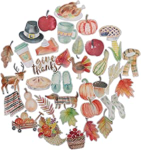 Navy Peony Cozy Thanksgiving Stickers (38 Pack) - Small, Cute, Waterproof and Durable | Aesthetic Autumn Decals for Water Bottles, Laptops, Scrapbook