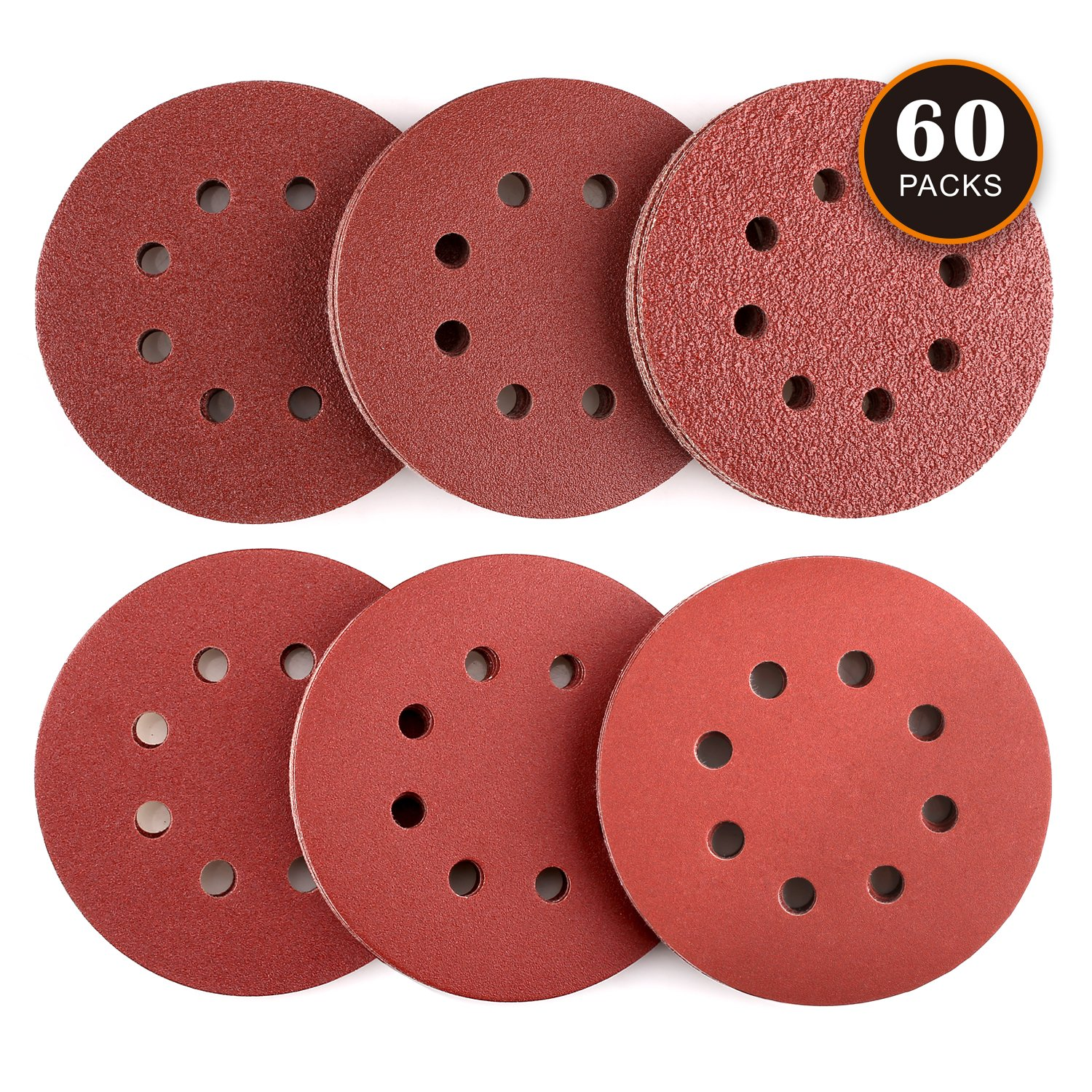 Tacklife Sanding Discs, 60 PCS Extra Thick Sander paper, 5 Inch 8 Holes Dustless Hook and Loop, 40/60/80/120/180/240 Grit Sandpaper, Ideal for Sanding / Polishing / Derusting - ASD03C
