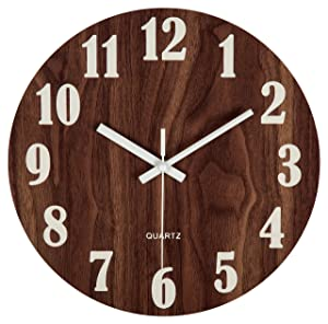 "jomparis 12"" Night Light Function Wooden Wall Clock Vintage Rustic Country Tuscan Style for Kitchen Bedroom Office Home Silent & Non-Ticking Large Number Battery Operated Indoor Clocks"