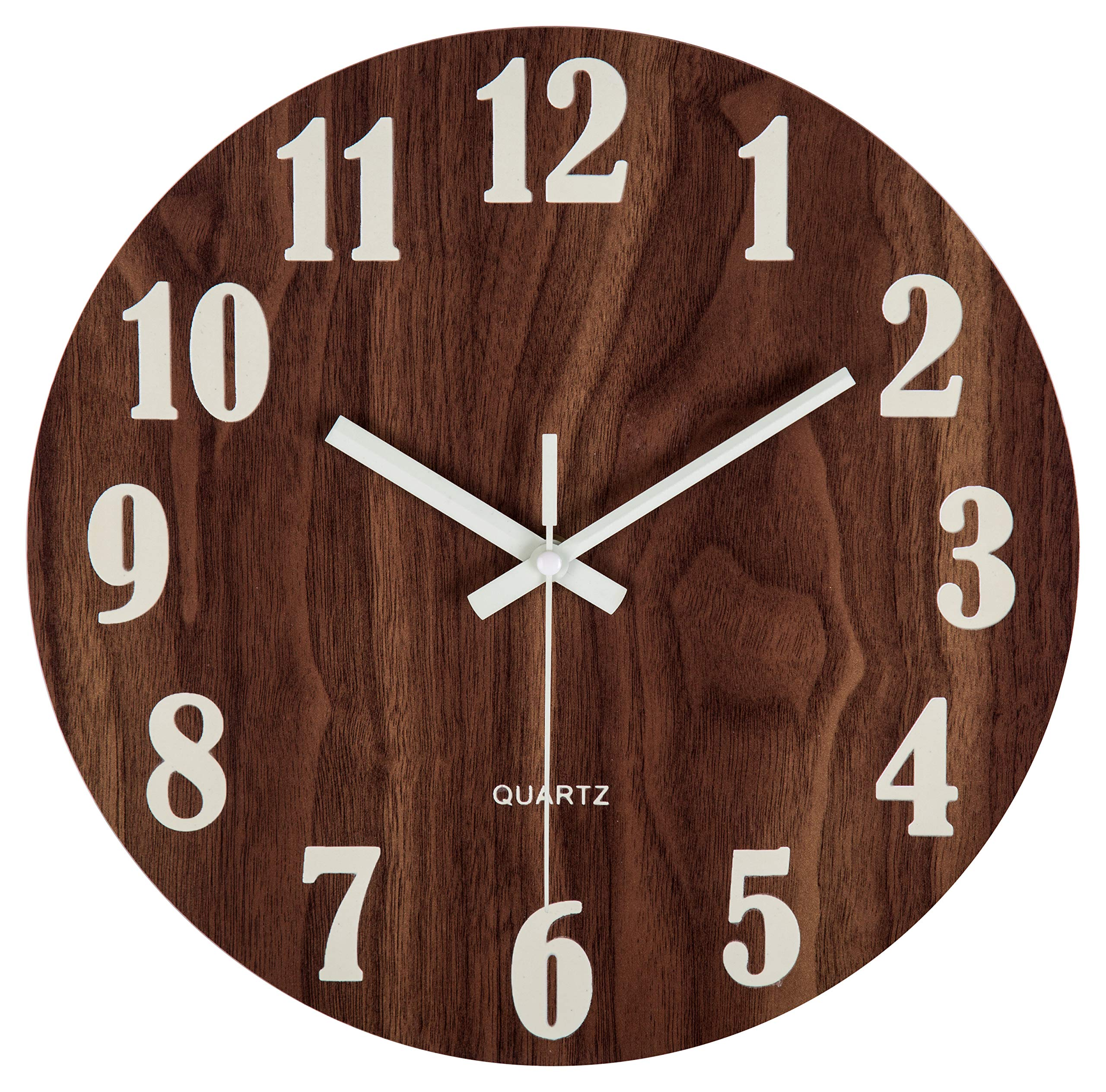 jomparis 12'' Night Light Function Wooden Wall Clock Vintage Rustic Country Tuscan Style for Kitchen Office Home Silent & Non-Ticking Large Number Battery Operated Indoor Clocks