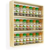 Solid Pine Spice Rack Holds Up To 27 Jars 3 Tiers