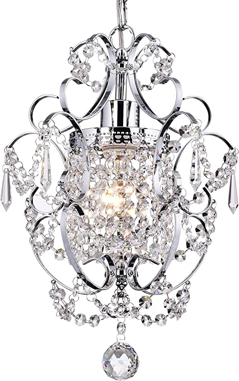 Papaya Crystal Mini Chandelier Lighting 1 Light Chrome Chandeliers Iron Ceiling Light Fixture Amazon Com