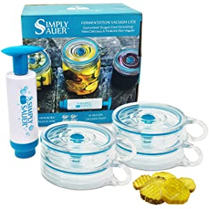 Fermentology Simply Sauer Fermentation Airlock Bundle Kit - Fits Wide Mouth Mason Jars - Supplies Include Airlocks, Pump