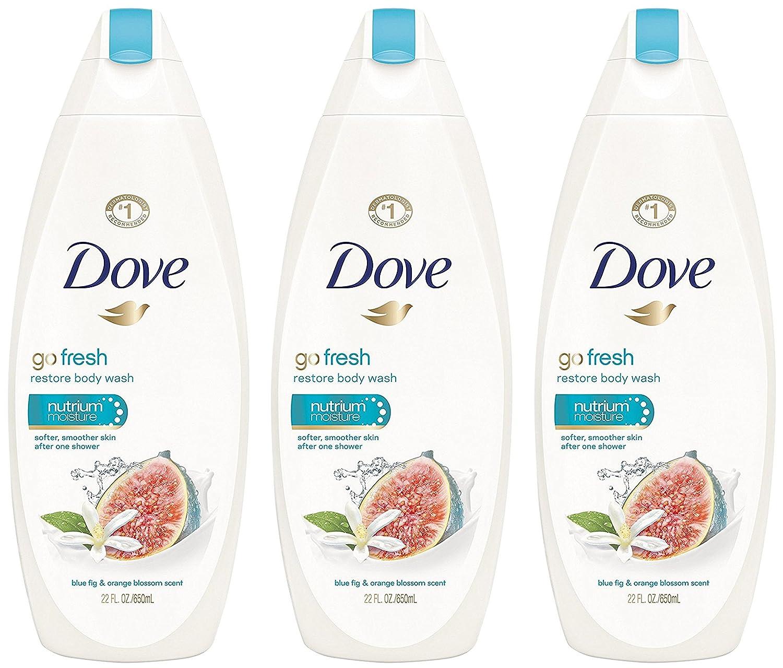 Dove Body Wash - Go Fresh - Restore - With Blue Fig & Orange Blossom Scent - Net Wt. 22 FL OZ (650 mL) Per Bottle - Pack of 3 Bottles