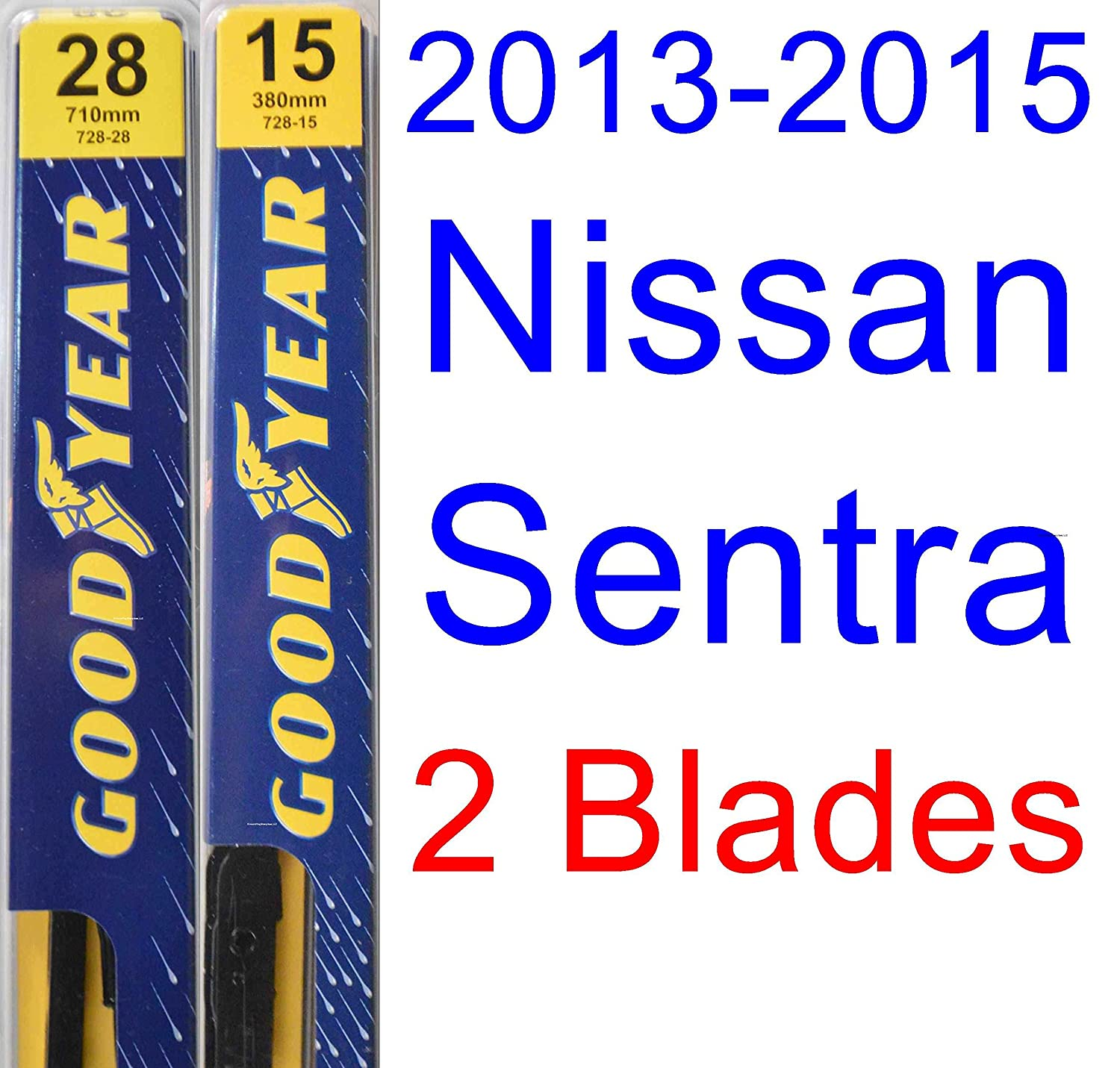 Amazon.com: 2013-2015 Nissan Sentra Replacement Wiper Blade Set/Kit (Set of 2 Blades) (Goodyear Wiper Blades-Premium) (2014): Automotive