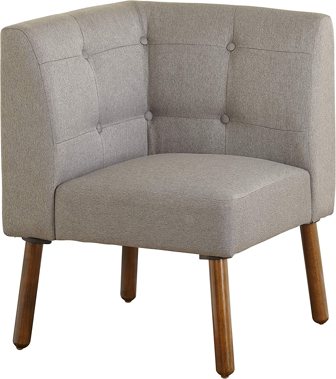 """The Mezzanine Shoppe Playmate Mid Century Fabric Upholstered Tufted Back Corner Chair, 24"""", Gray"""