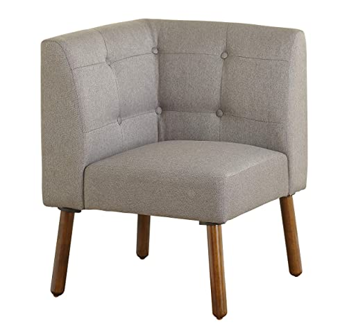 The Mezzanine Shoppe Playmate Mid Century Fabric Upholstered Tufted Back Corner Chair, 24 , Gray