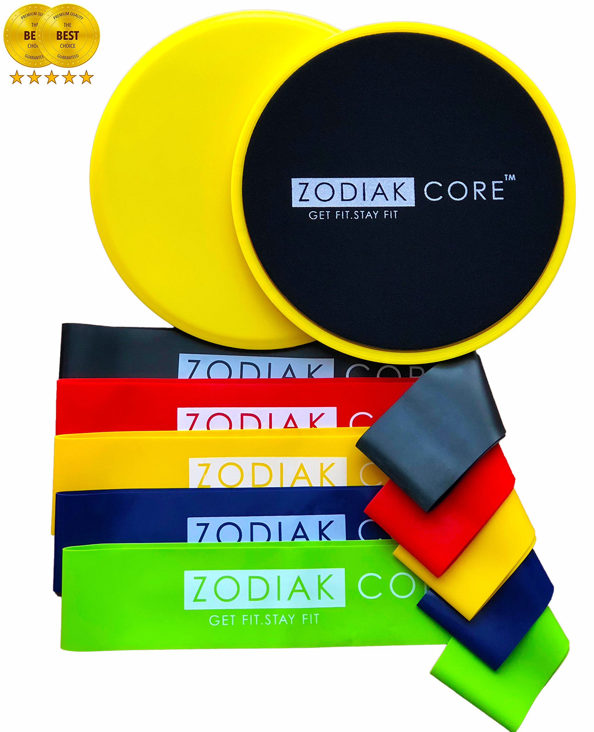 Zodiak Core Premium Sliders and Resistance Loop Bands Set by ZODIAK FITNESS