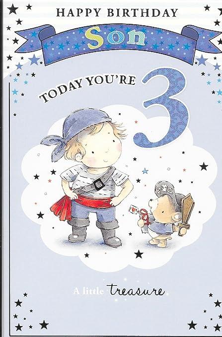 Tarjeta de felicitación de cumpleaños hijo eres 3 hoy, tres ...
