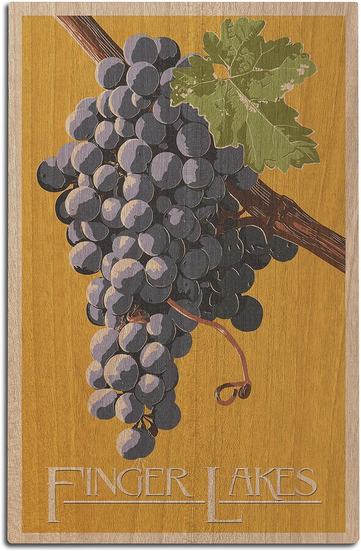 Finger Lakes, New York - Wine Grapes - Letterpress (12x18 Wood Wall Sign, Wall Decor Ready to Hang)