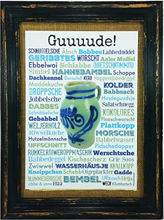 Guuuude! Bembel Druck Poster A4 Geschenk Apfelwein Hessen Frankfurt Geripptes Äppler AnneSvea Typo Deko Mitbringsel hessische Begriffe Wörter