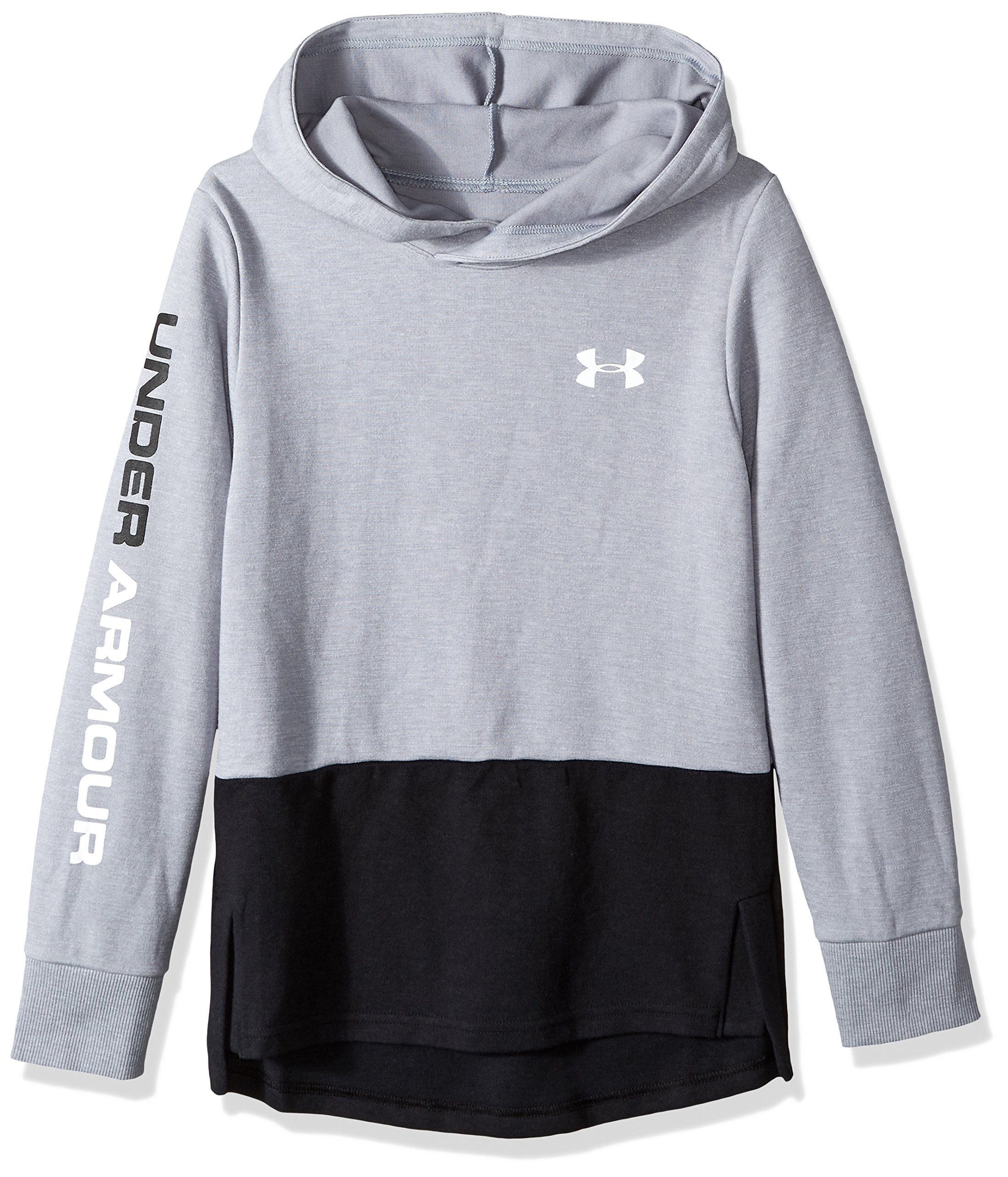Under Armour Boys Double Knit Hoodie, Steel Light Heather (035)/White, Youth X-Large by Under Armour
