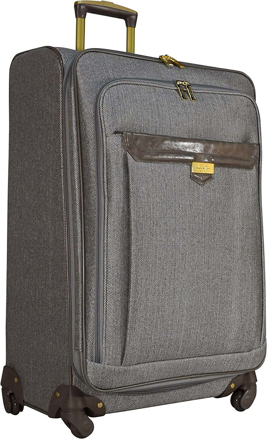 Nicole Miller Designer Luggage Collection – Expandable 24 Inch Softside Bag – Durable Mid-sized Lightweight Checked Suitcase with 4-Rolling Spinner Wheels