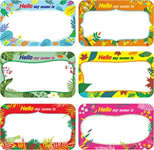 """300 Pcs Name Tag Label Sticker in 6 Designs with Perforated Line for School Office Home (3.5""""x2.2"""" Each) …"""