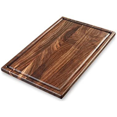 Premium Large Walnut Cutting Board - Organic Wooden Chopping Block For Kitchen - American Butcher Chef Serving Board [17x11 Inches] [E-Book Gift]